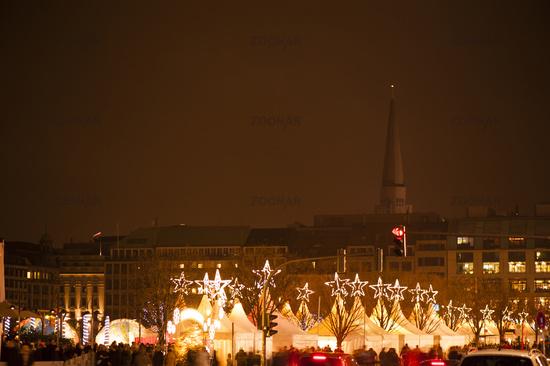 White Magic Christmas market in Hamburg at night