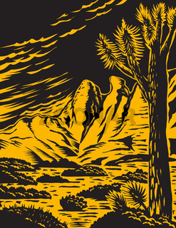 Joshua Tree in the Remote and Rugged Desert Landscape of Gold Butte National Monument in Clark County Nevada Woodcut WPA Poster Art