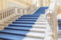 The most beautiful Baroque staircase of Europe located in Madama Palace (Palazzo Madama), Turin, Italy. Interior with luxury marbles, windows and corridors.