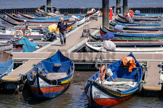 Traditional 'Moliceiro' Boats used by Fisherman in an harbour - Ria de Aveiro, Portugal