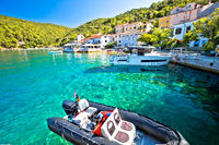 Tourist village of Valun on Cres island waterfront view