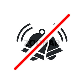 Loud sound not allowed, keep quiet red forbidden sign with ringing bells icon on white background