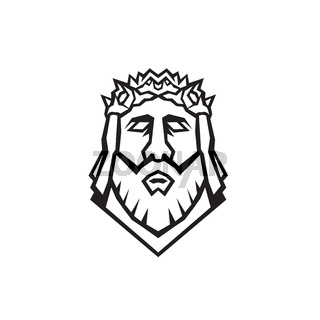 Head of Jesus Christ the Redeemer Wearing Crown of Thorns Viewed from Front Retro Woodcut Black and White Style