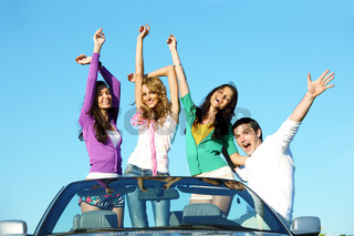 people group  fun  in cabriolet