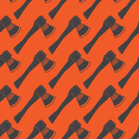 Firefighter Axe Seamless Pattern Isolated on Red Background