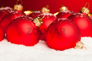 Christmas decoration balls with snow