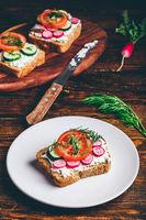 Vegetarian sandwich with fresh vegetables