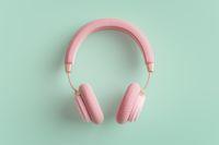Pink headphones 3D illustration