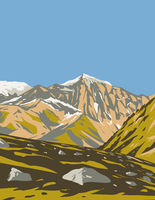 Stelvio National Park with Monte Cevedale Within Trentino-Alto Adige Sudtirol and Lombardia in Italy Art Deco WPA Poster Art