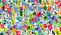 collage of letters, random text and colorful alphabet letterpaper cut