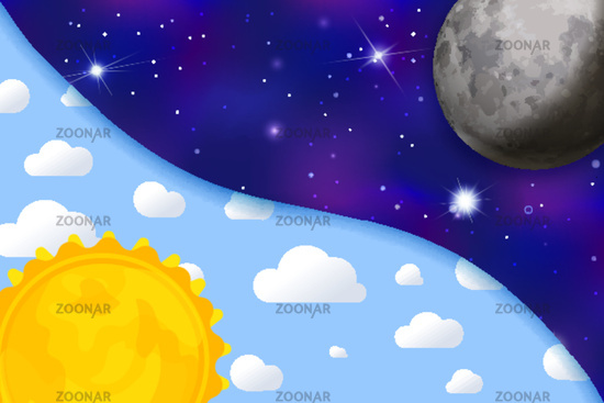 Day and night colourful childish illustration with sun, sky, clouds, moon and stars