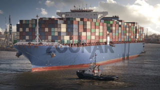 Huge container ship in the port of Hamburg