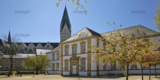 Former Domdechanei, today city library and Paderborn Cathedral, Paderborn, Germany, Europe