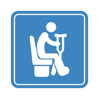 Sitting disabled man with a crutches, detailed blue icon for public transport on the white background