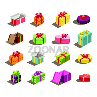 Set of 16 pieces of multicolored gift boxes - Vector