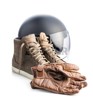Safety motorcycle accessories. Leather gloves, helmet and shoes