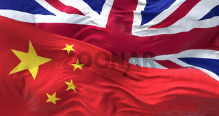 The flags of China and the United Kingdom waving in the wind