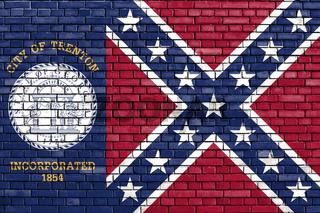 flag of Trenton, Georgia painted on brick wall