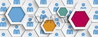 White Hexagons Humans Structure Background Header