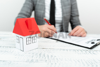 Lady Presenting New Home Savings Deals In Outfit, Business Woman Showing Possible Investment Oppurtiunities For New House, Mortegage Installments Exhibits For Recent Apartments Sales