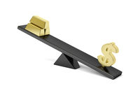 Dollar sign and gold bars on seesaw