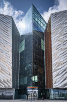 Closeup on rear entrance to the Titanic Museum, located in the Belfast city Titanic Quarter