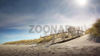 Wooden bridge in the dunes
