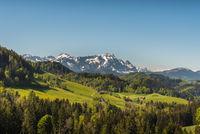 Scenic view of mount Saentis against clear sky, Canton Appenzell Ausserrhoden, Switzerland