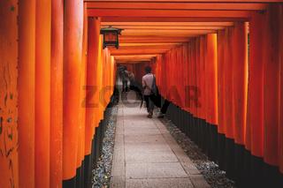 Tourists walking and making selfies in tunnel of orange torii gates at Fishimi Inari Taisha shrine in Kyoto, Japan