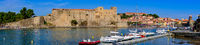 Panorama of Château Royal de Collioure, a French royal castle in the town of Collioure, France