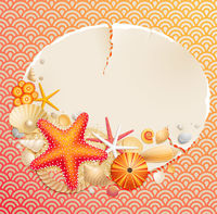 Vintage greeting card with shells