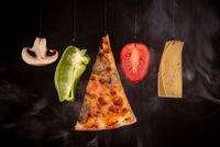 Slice of mozzarella pizza tomato cheese peeper and mushroom ingredients
