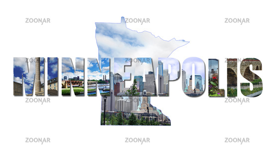 Minneapolis collage of images from around the city over a skyline in the shape of Minnesota