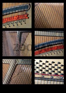 Tableau von Details eines Klaviers