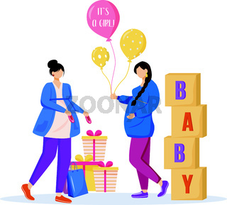 Pregnant women with baby shower gifts flat vector illustration. Expectant mothers waiting of baby girl. Ladies preparing to maternity isolated cartoon characters on white background