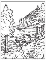 Otter Cliff Along the North Atlantic Seaboard Located in Acadia National Park Maine United States Mono Line or Monoline Line Art  Black and White