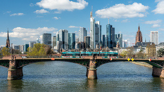 Frankfurt, Germany - March 31, 2020: frankfurt skyline view with ignas bubis bridge during daytime
