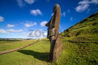 Moai stone sculptures at Rano Raraku, Easter island, Chile.