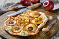 Tarte Flambée from Alsace with apple rings