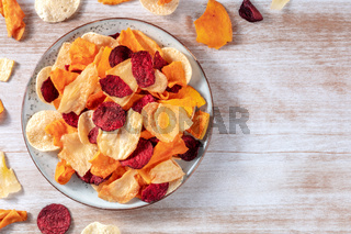 Vegetable chips, overhead shot on a plate, a healthy vegan snack