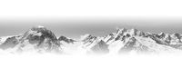 Black and white panoramic view of snow-capped mountain peaks