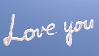 Love you text in sky
