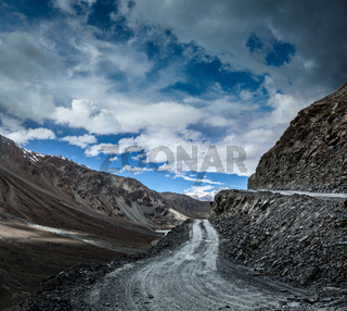 Dirt road in severe unpopulated Himalayas. Spiti valley