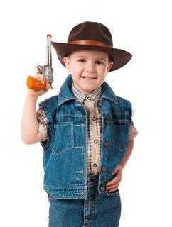 little boy wearing a cowboy hat