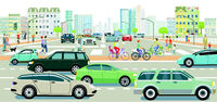 Road traffic with people on the crosswalk in a big city, illustration