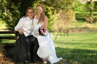 Beautiful young couple on their wedding day
