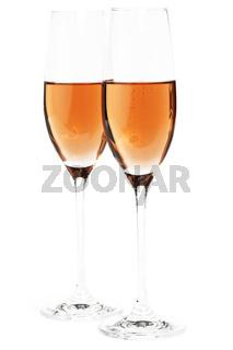 zwei gläser rose sekt