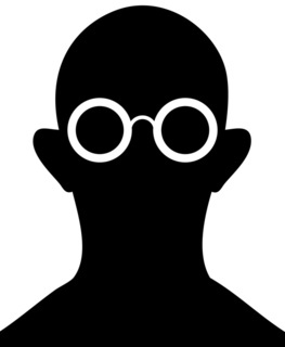 Silhouette of person with eyeglasses
