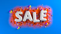sale bright glossy letters on a blue abstract background with colorful spheres and mountains. 3d illustration