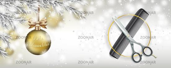 Christmas Scissors Comb Frozen Twigs Snowfall Golden Bauble Header